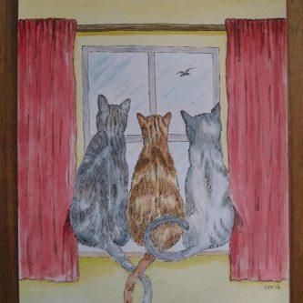 3 Katten in Raamkozijn