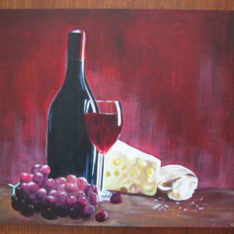 Stilleven met kaas en wijn
